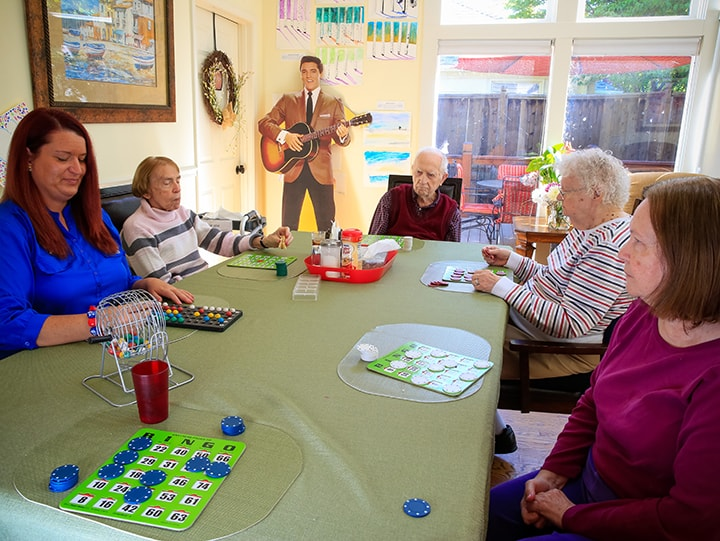 senior people playing bingo