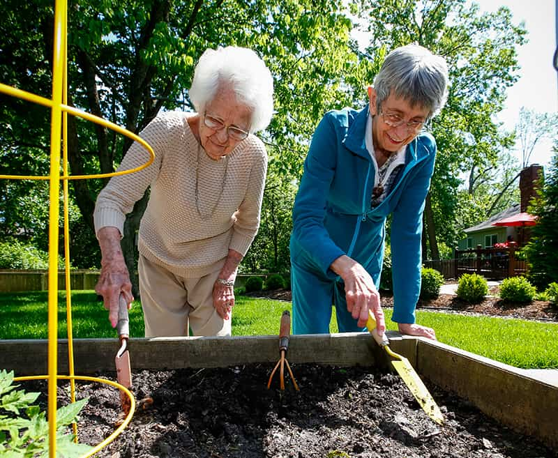 2 senior women gardening
